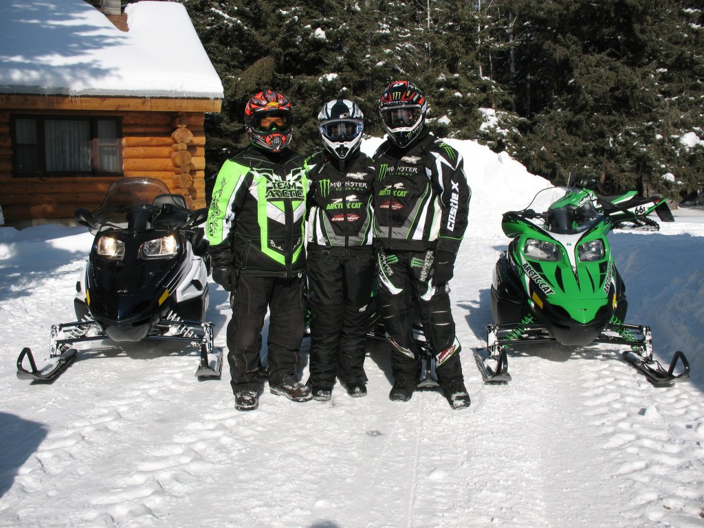 Roger, Mandi and Tucker Snowmobiling at Skime Ranch 2.14.10