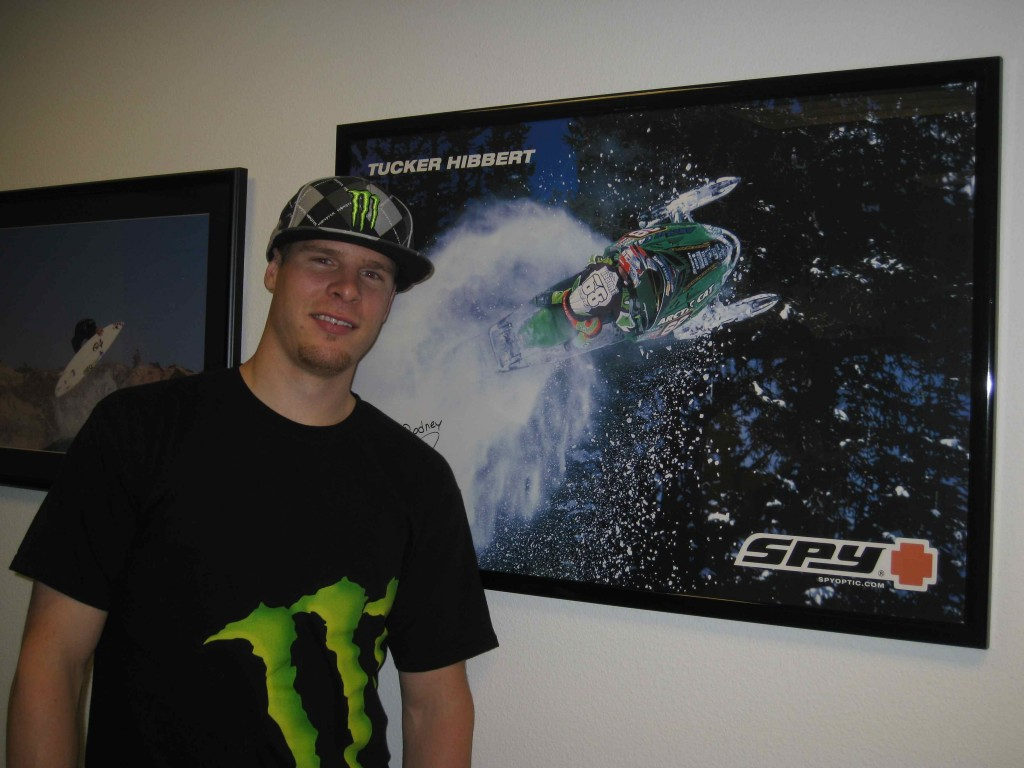 Tucker at Monster with 2003 snocross poster